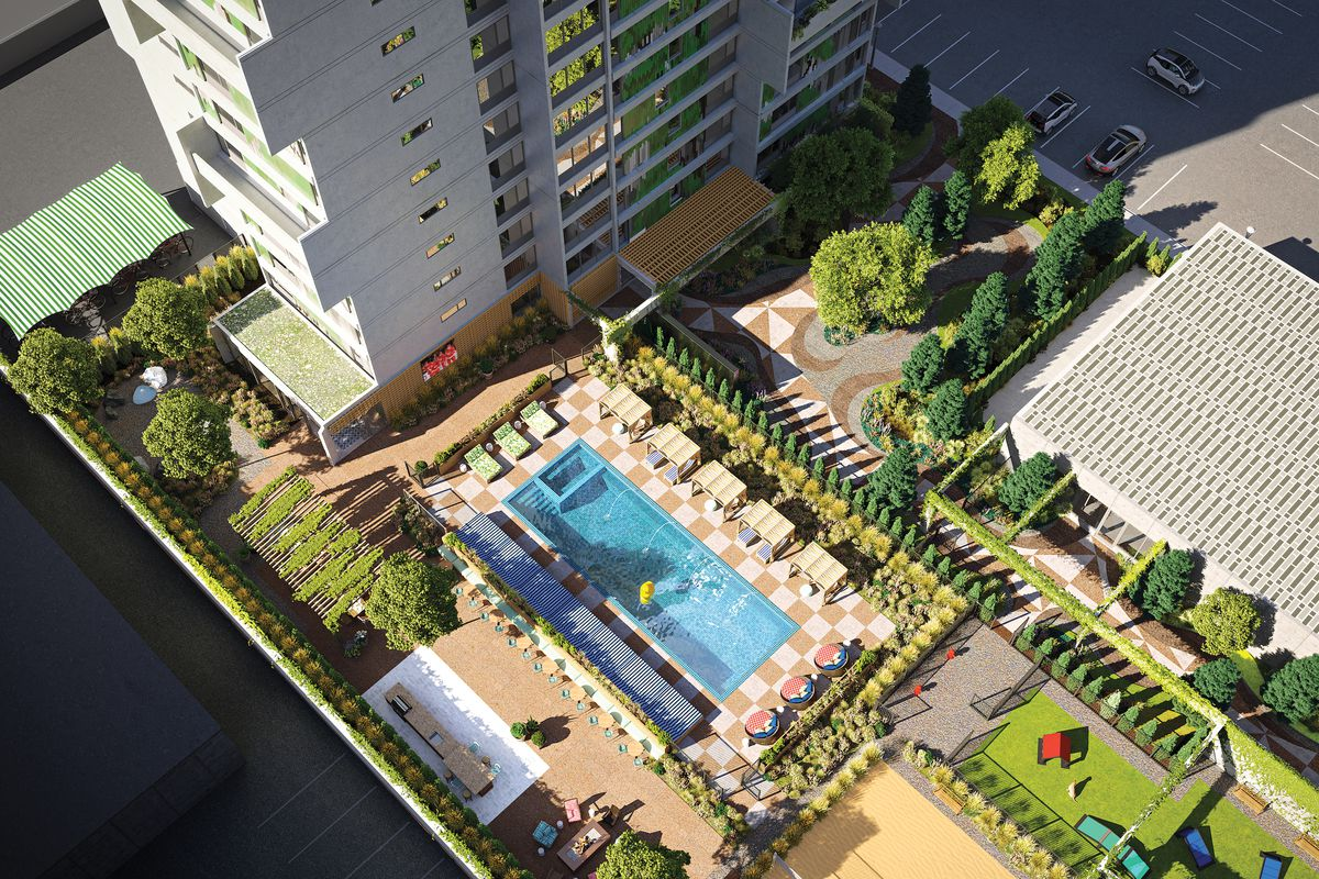 Ariel rendering of a high-rise next to a swimming pool with expansive grounds.