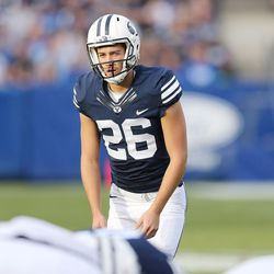 Brigham Young Cougars punter Rhett Almond (26) lines up a field goal  in Provo on Saturday, Nov. 12, 2016.