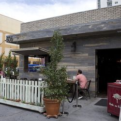 The entrance and patio at Park on Fremont. Photo: Chelsea McManus