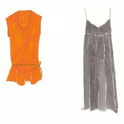 Left: Puja silk and cotton top in poppy, now on sale (originally $166.) Right: Musi silk dress in indigo, now on sale (originally $166.)