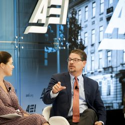 """W. Bradford Wilcox, AEI Visiting Scholar; Institute for Family Studies; University of Virginia (center) responds to questions during the """"Fifth Annual American Family Survey: Myths about families, plus what Americans really think about paid family leave"""" panel discussion at the American Enterprise Institute in Washington, DC, Thursday, September 12, 2019."""