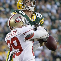 San Francisco 49ers' Chris Culliver (29) breaks up a pass intended for Green Bay Packers' Jordy Nelson during the second half of an NFL football game Sunday, Sept. 9, 2012, in Green Bay, Wis.