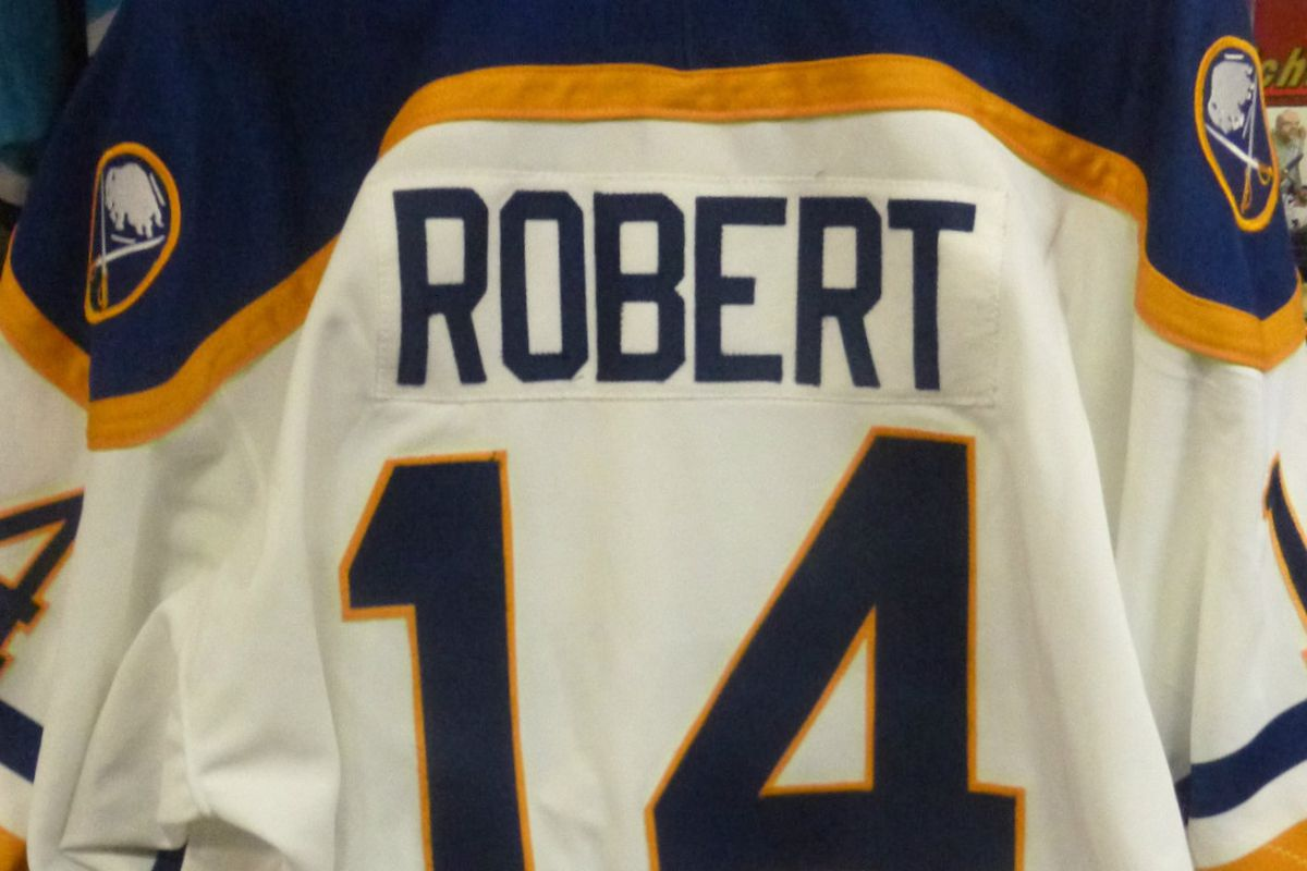 Buffalo Sabres team issued Rene Robert jersey honoring the French Connection, signed by Robert, Rick Martin and Gilbert Perreault