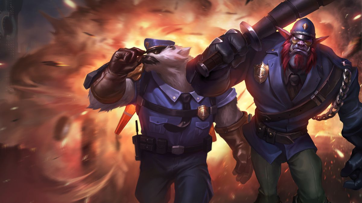 Captain Volibear walks away from an explosion with Trundle