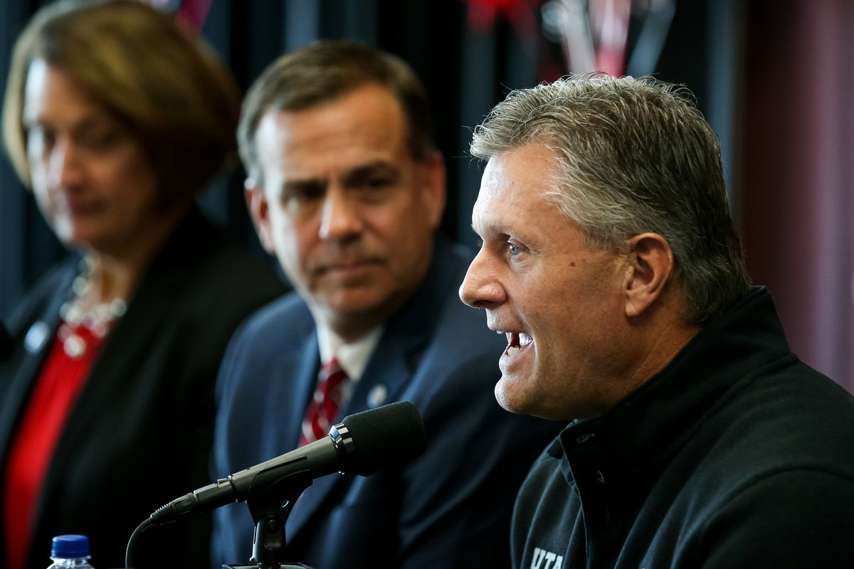 University of Utah football head coach Kyle Whittingham speaks about the planned expansion of Rice-Eccles Stadium during a press conference at the stadium in Salt Lake City on Wednesday, Nov. 14, 2018. At left is U. president Ruth Watkins and athletic director Mark Harlan.