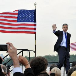 Former Utah Gov. Jon Huntsman Jr. takes the stage just before he announces that he will run for the US presidency June 21, 2011, at Liberty State Park in Jersey City, N.J.