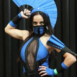 Ambyr Reyes wears her Kitana costume at Comic Con in Salt Lake City Thursday, Sept. 5, 2013.