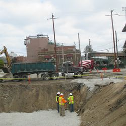 11:52 a.m. The excavation work taking place in the broadcast lot -