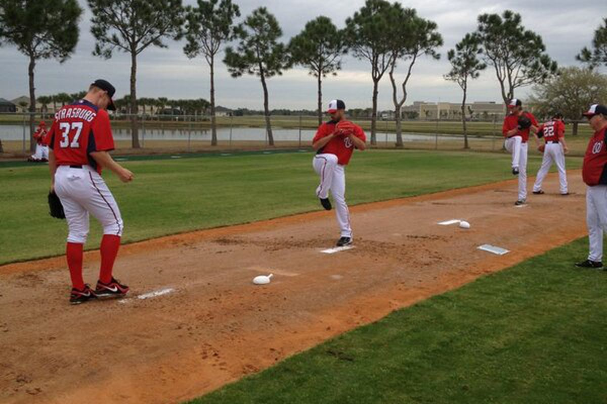 Washington Nationals' pitchers and catchers held their first official workout of the year this morning in Viera, Florida.