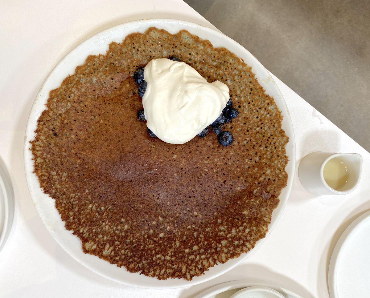 Cornmeal mochi pancake at Yang's Kitchen in Alhambra.
