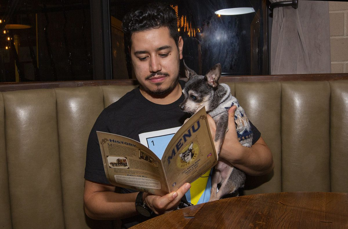 A man holding a menu seated in a booth with a puppy.