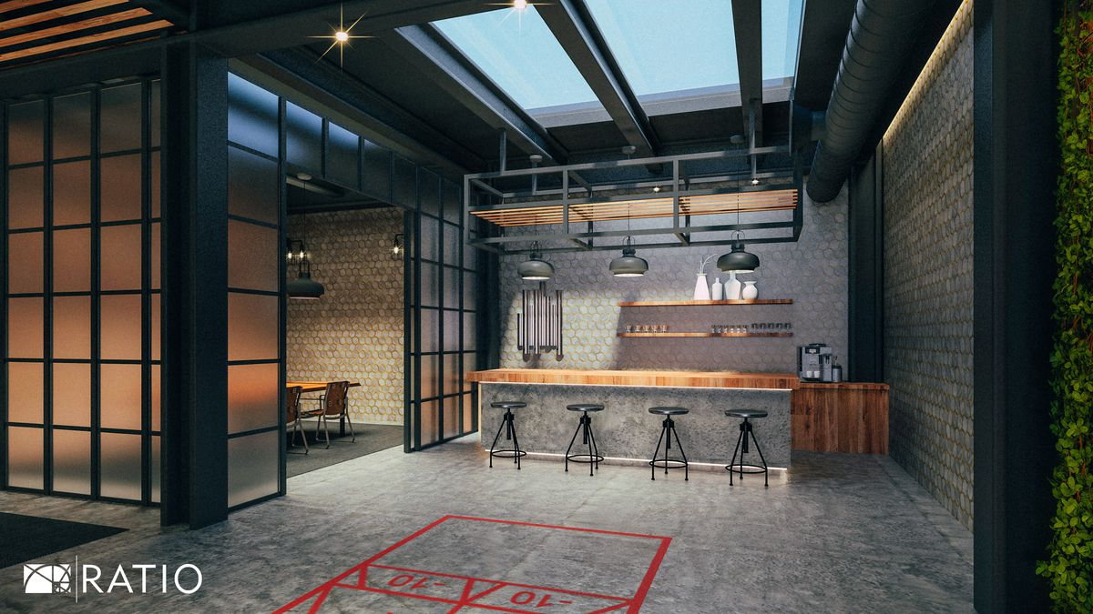 A concrete floor with red shuffleboard lining sits in front of a four steel stools at a rustic wood bar countertop next to a dining room closed off by fogged glass paned window room dividers.