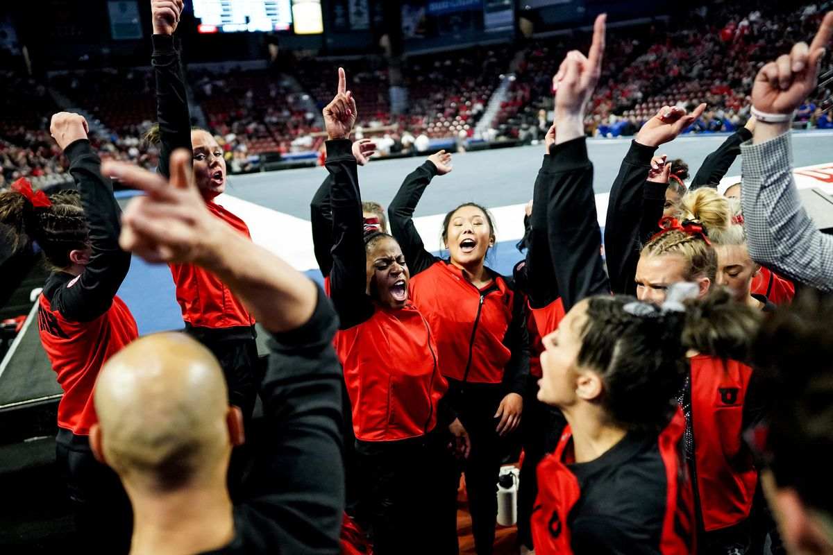 Utah gymnasts cheer as they round out their win at the Best of Utah gymnastics meet at the Maverik Center in West Valley City on Saturday, Jan. 11, 2020.