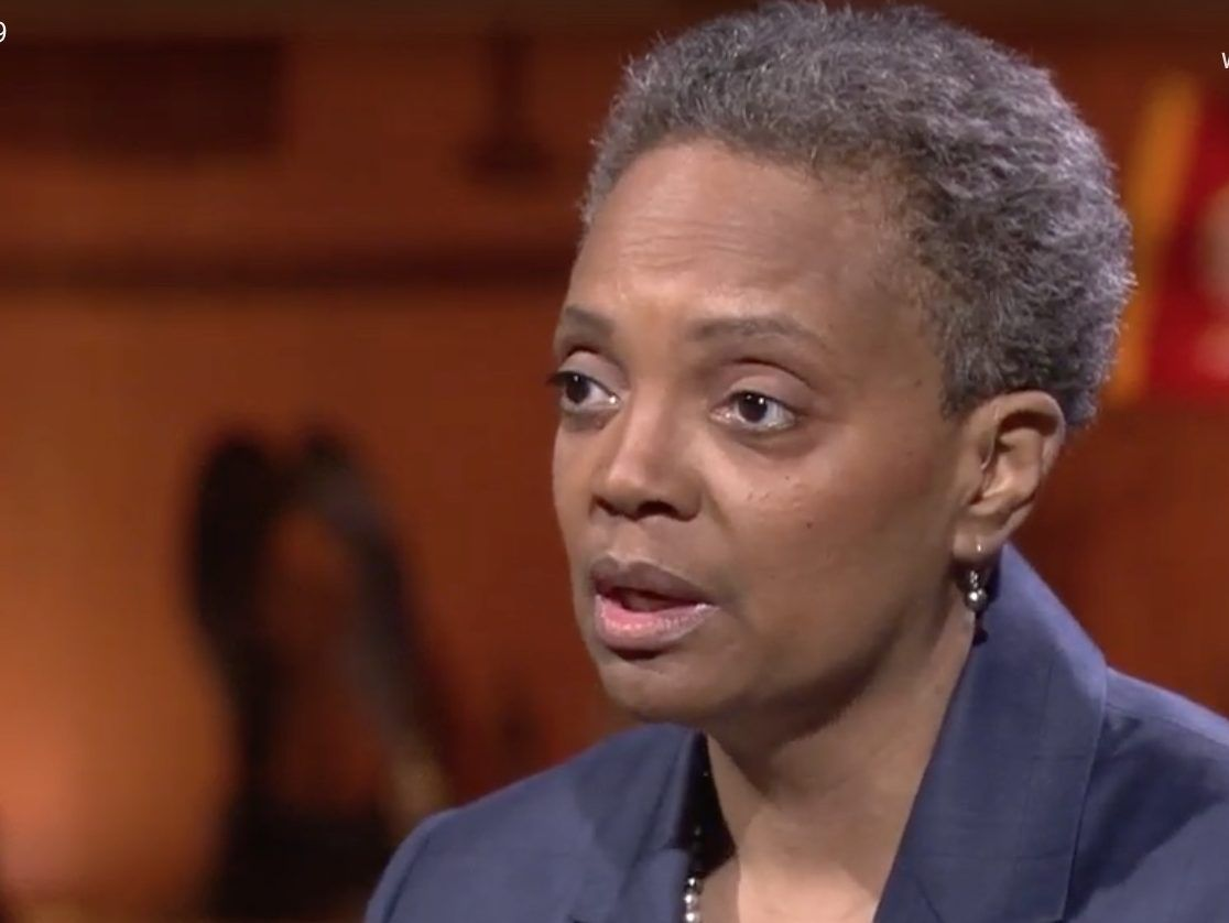 Mayoral candidate Lori Lightfoot speaks during a debate with Toni Preckwinkle Thursday night on WTTW-Channel 11. Screen image.