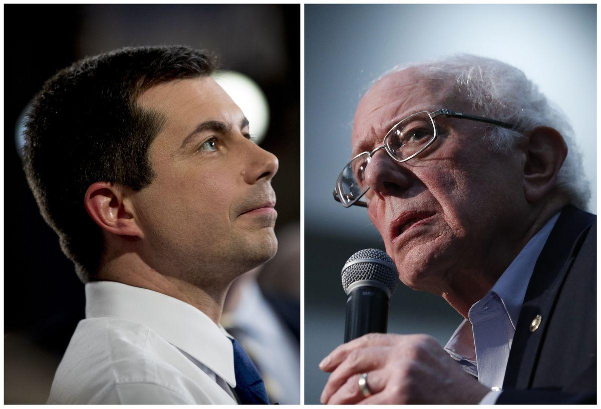 Democratic presidential candidate former South Bend, Ind., Mayor Pete Buttigieg, left; Democratic presidential candidate Sen. Bernie Sanders, right.