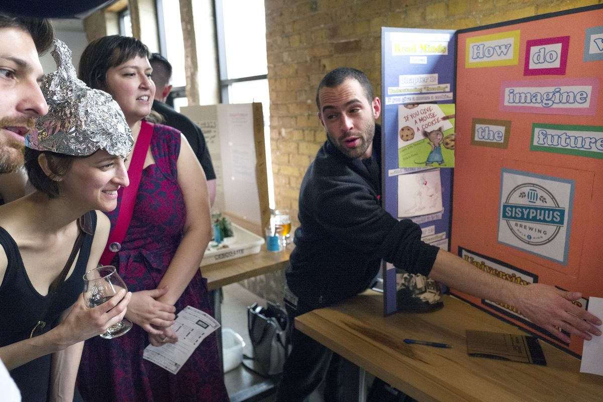 Hans Lakhan left, Katie Josephs , and Tiana Malone listened as Brian Sweis a University of Minnesota neuroscience medical student discussed his science fair project Sunday, April 17th, 2016 at Sisyphus Brewing in Minneapolis, MN.] The Grown Up Club, a