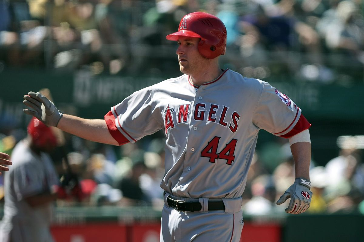 August 8, 2012; Oakland, CA, USA; Los Angeles Angels left fielder Mark Trumbo (44) celebrates after hitting a home run against the Oakland Athletics during the seventh inning at O.co Coliseum.  Mandatory Credit: Kelley L Cox-US PRESSWIRE