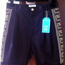 """A seller in Israel listed <a href=""""http://www.ebay.com/itm/H-M-VERSACE-MEN-SHORTS-GOLDEN-RIVETS-SIDES-SOLDOUT-WORLDWIDE-/190602804445?pt=US_CSA_MC_Shorts&hash=item2c60cffcdd"""" rel=""""nofollow"""">these studded men's shorts</a> for $229, which is about how m"""