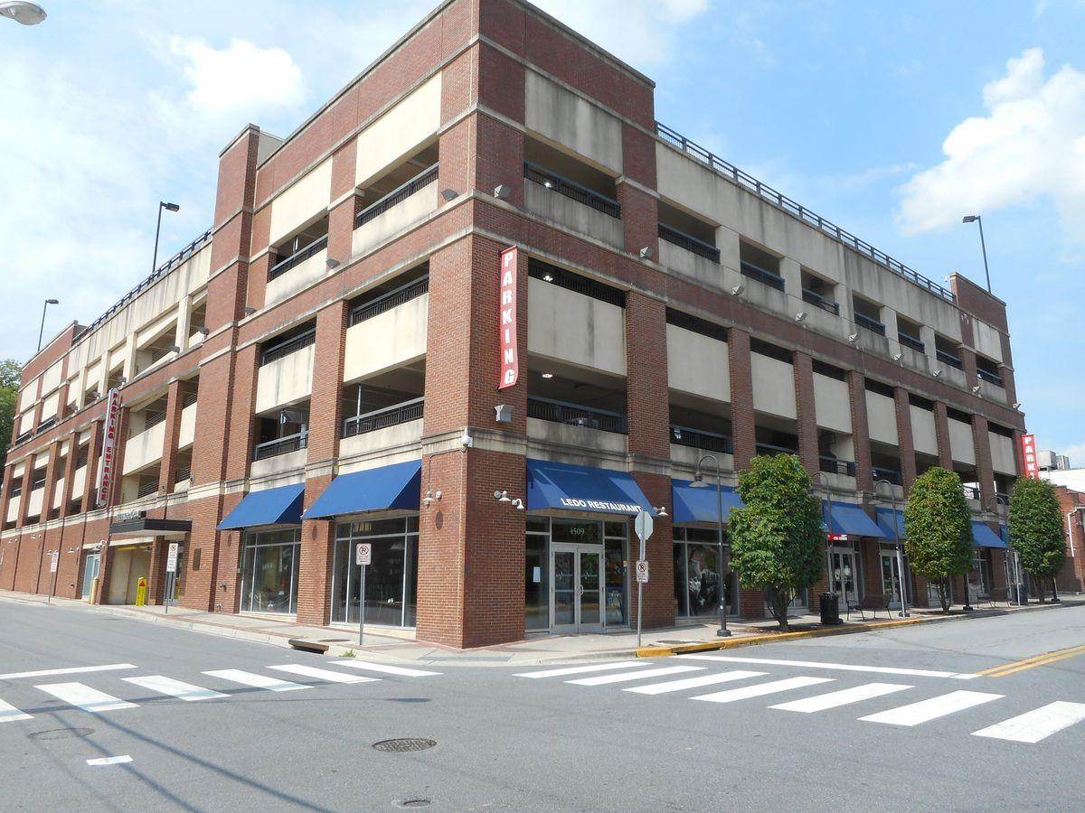 Ledo Restaurant sits under a parking garage on Knox Road in College Park, Maryland.