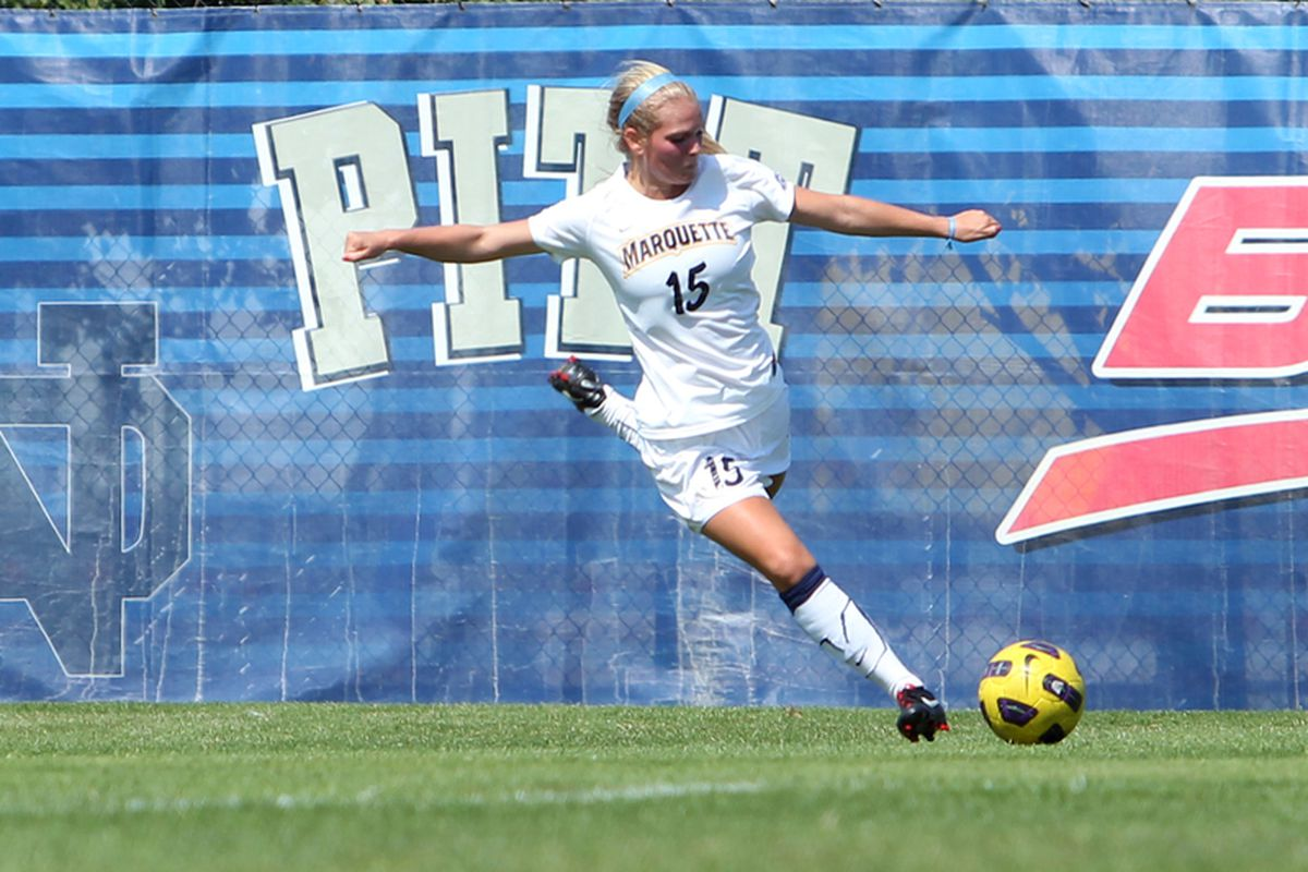 Taylor Madigan is one of four Golden Eagles with two goals so far this season. (via Maggie Casey/MarquetteImages.com)
