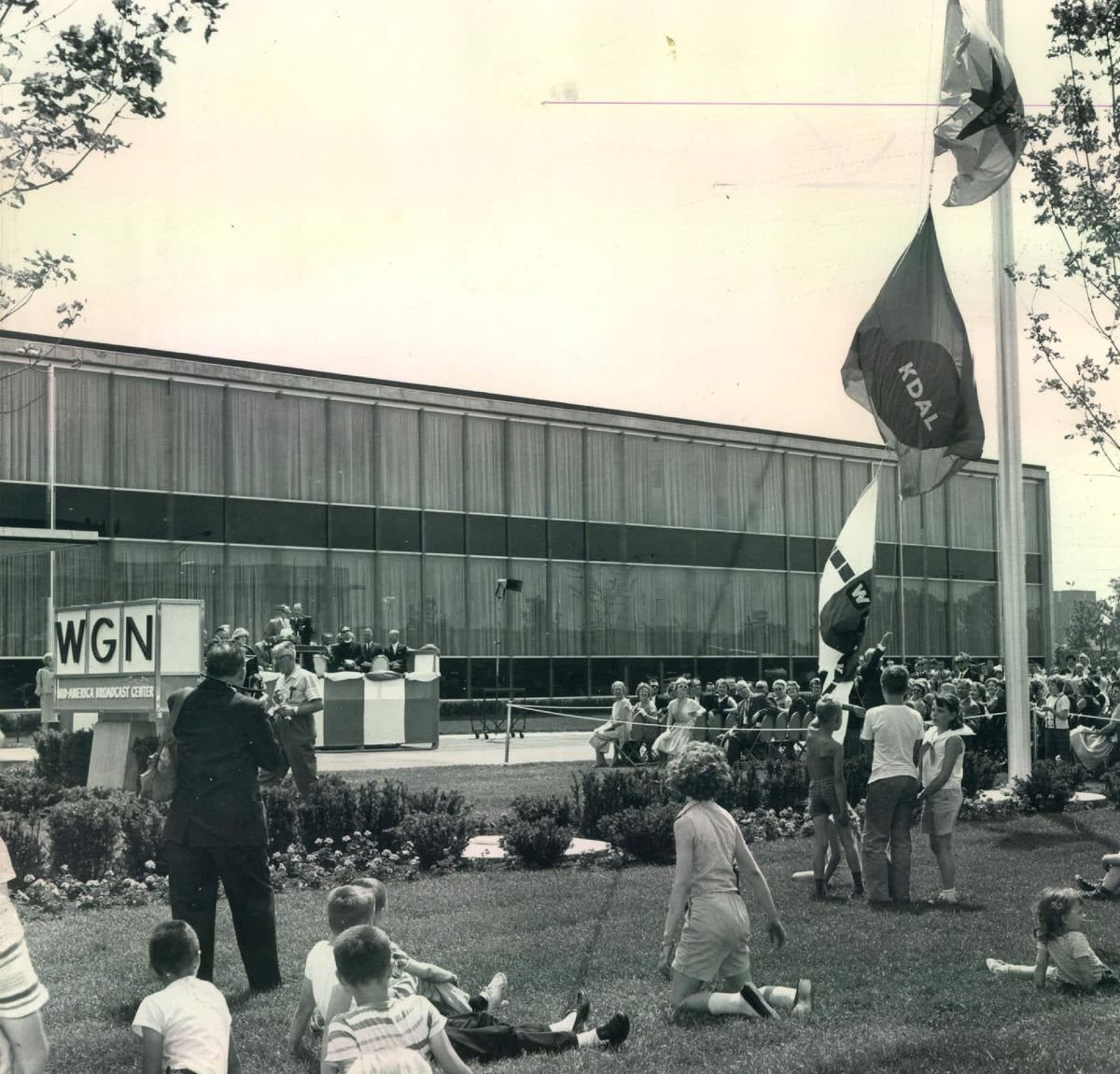 Flag-raising ceremony marks opening of WGN's Mid-America Broadcast Center at 2501 W. Bradley in 1961. | Sun-Times library