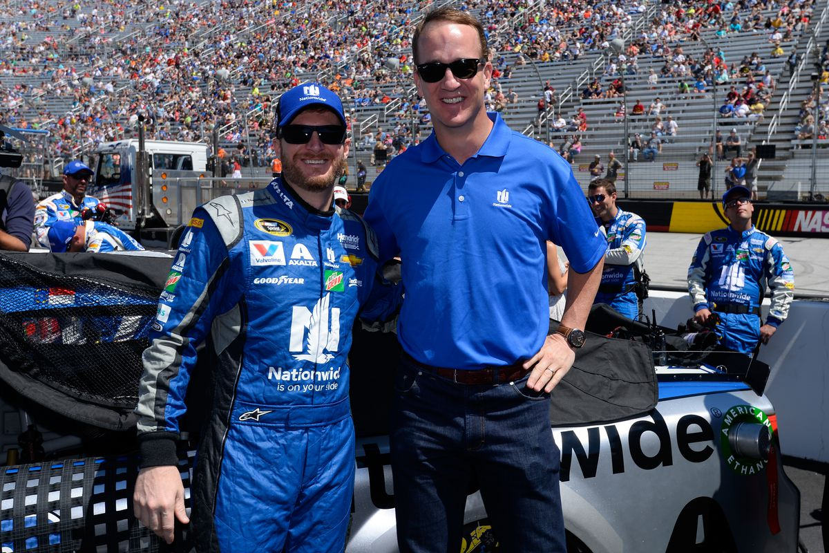 Dale Earnhardt Jr Left And Peyton Manning Right On The Grid Prior To Food City 500 At Bristol Motor Sdway April 17 2016