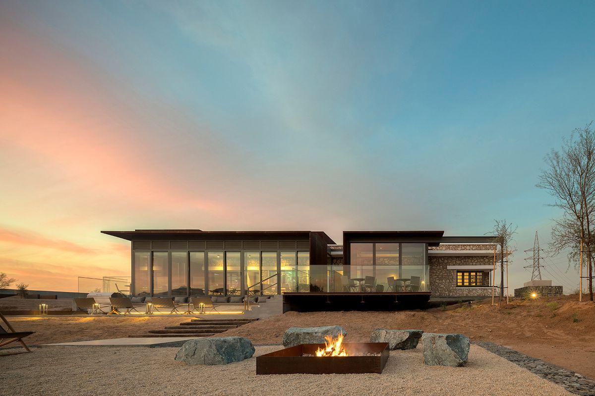 Building in the desert at dusk