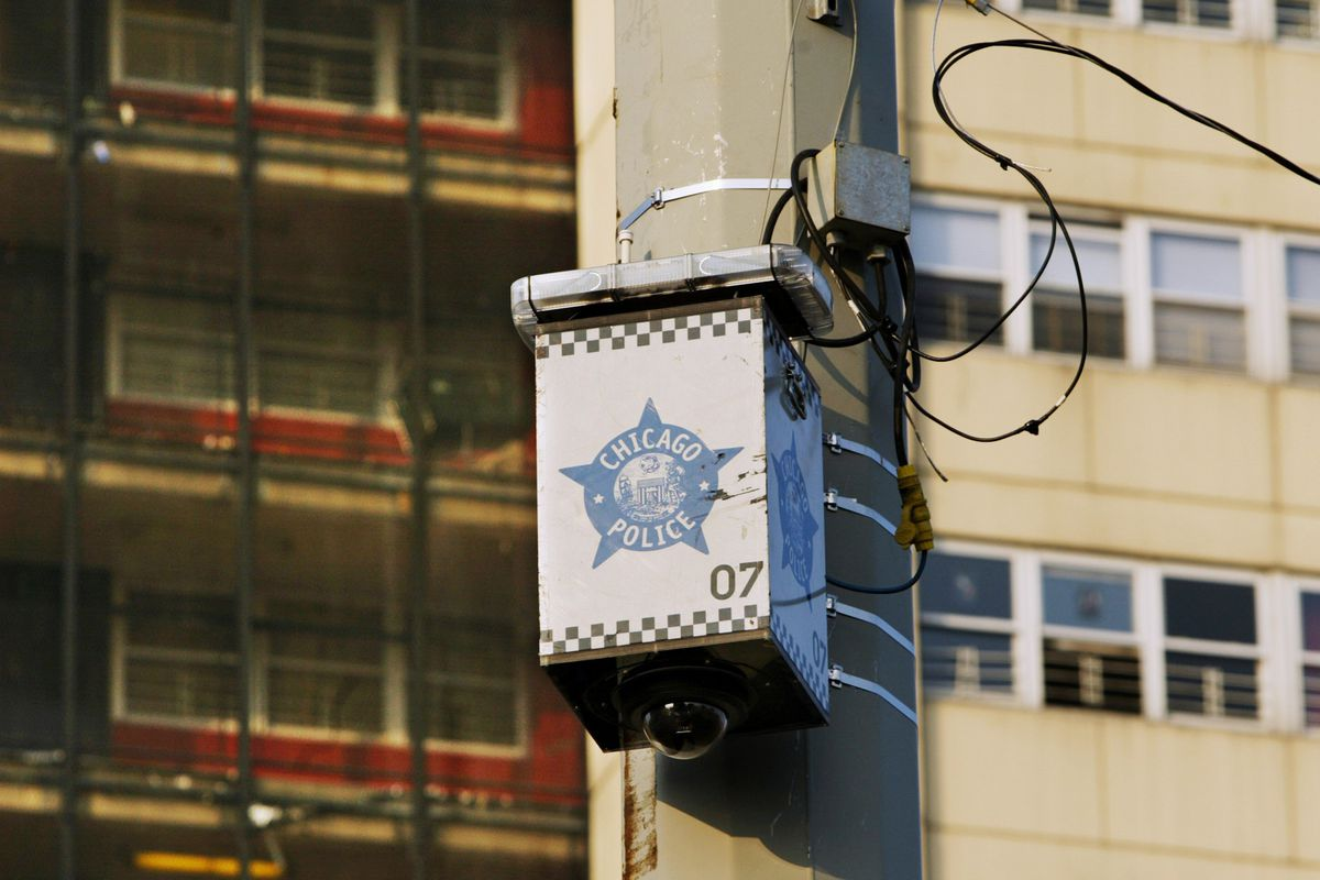 A pole-mounted Chicago Police Department surveillance camera on the Near North Side.