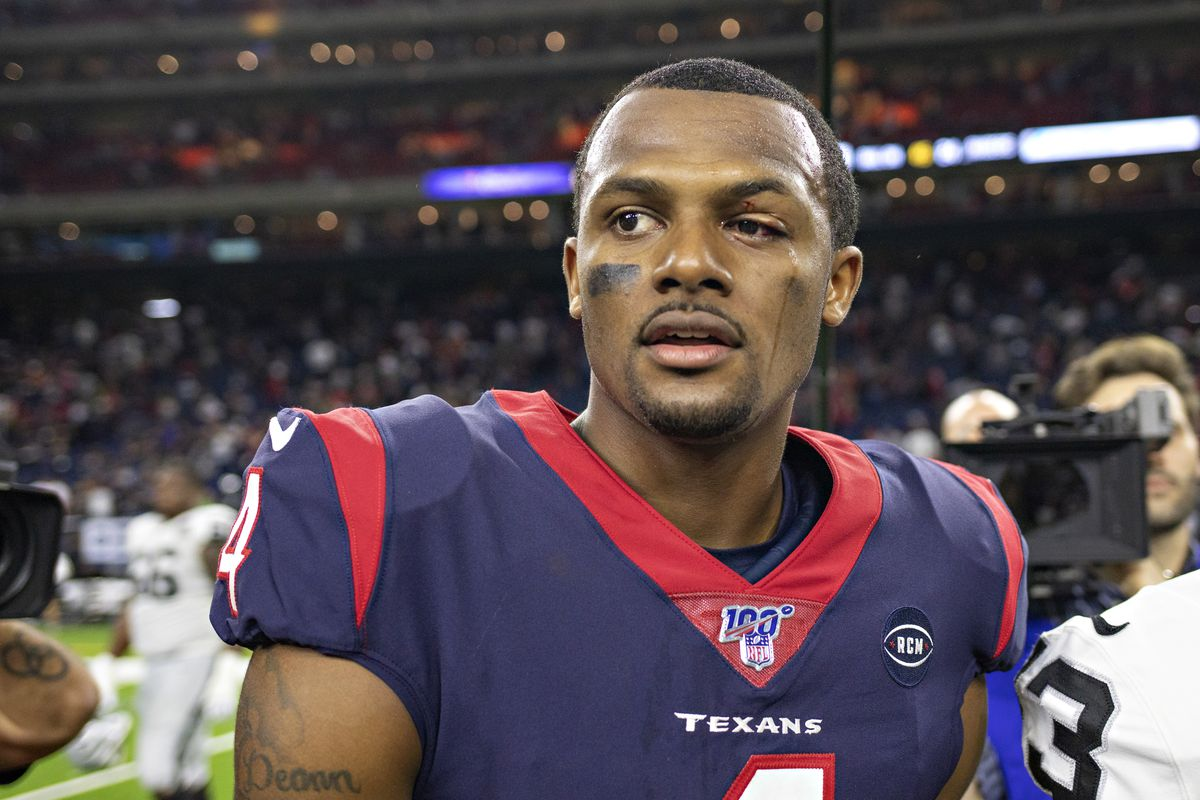 Deshaun Watson of the Houston Texans walks off the field showing his injured eye after the game against the Oakland Raiders at NRG Stadium on October 27, 2019 in Houston, Texas.