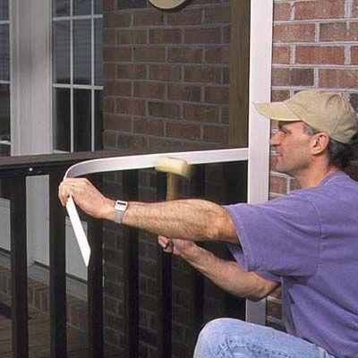 Man Installs Narrow Cap Trim Of Porch Screen