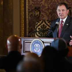 Gov. Gary Herbert speaks during a ceremony to celebrate the signing of a concurrent resolution affirming Utah's support for the religious and civil liberties of immigrants and refugees during a ceremony at the Capitol in Salt Lake City on Monday, April 17, 2017.