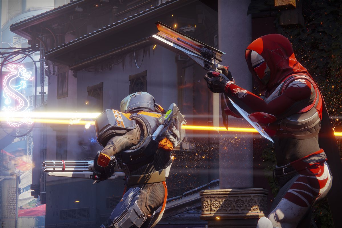 Destiny 2 - a Hunter and Titan fighting in the Crucible