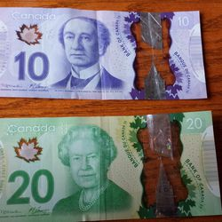 If blue currency isn't your thing, how about purple or green? Oh, and don't forget Queen Elizabeth II technically is still Canada's monarch (and yes, the money is see-through and has cool holograms)
