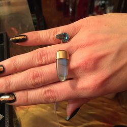 Bare ring (coffin-cut blue topaz with bullet-cut labradorite), $6,000