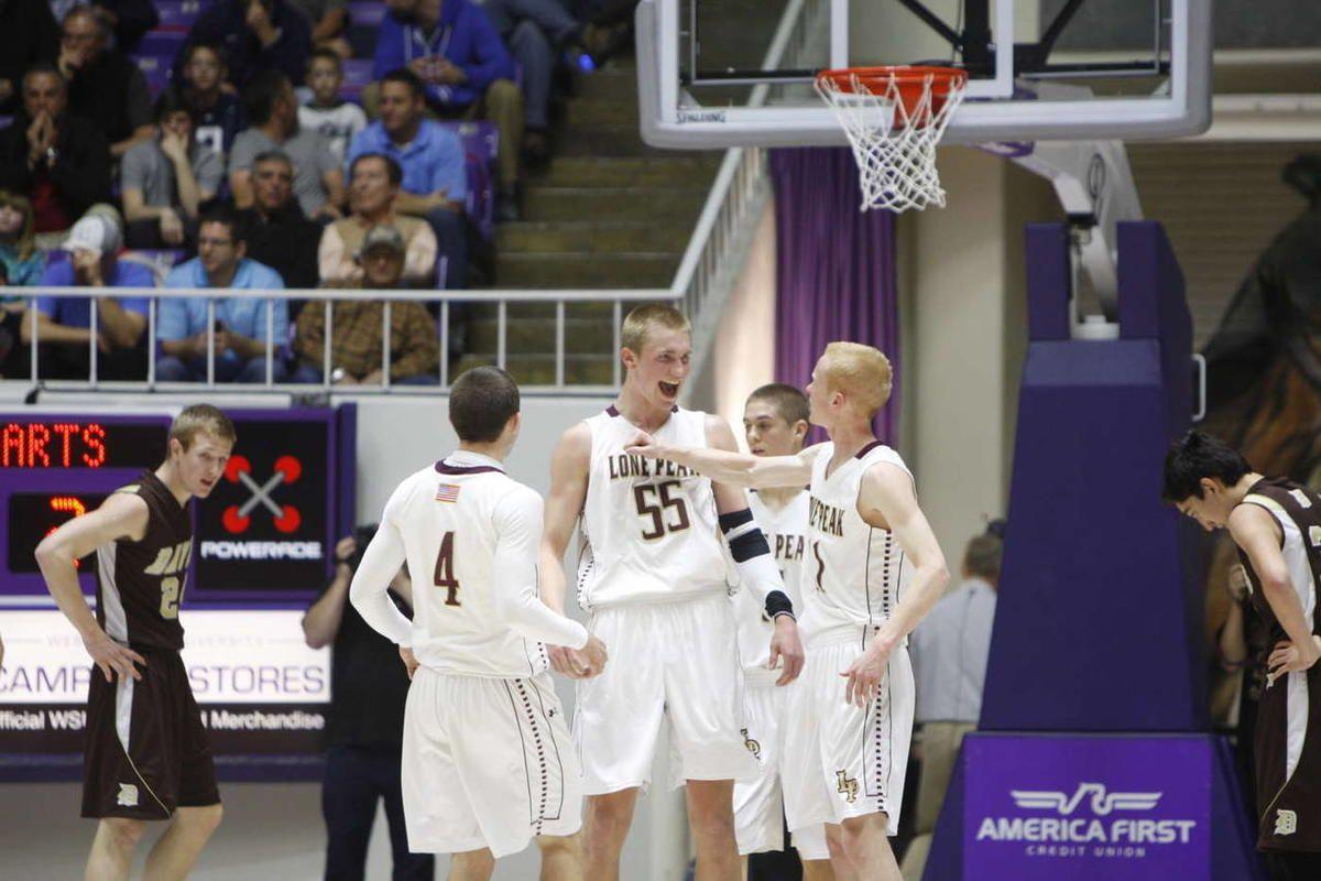 as Lone Peak High School defeats Davis High School  in the state 5A quarterfinals basketball tournament Wednesday, Feb. 27, 2013, in Ogden.