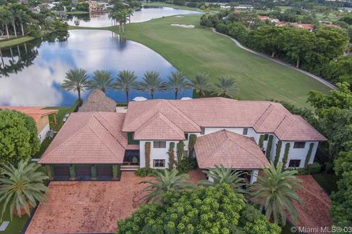 Aerial of a home on a golf course in Trump National Doral
