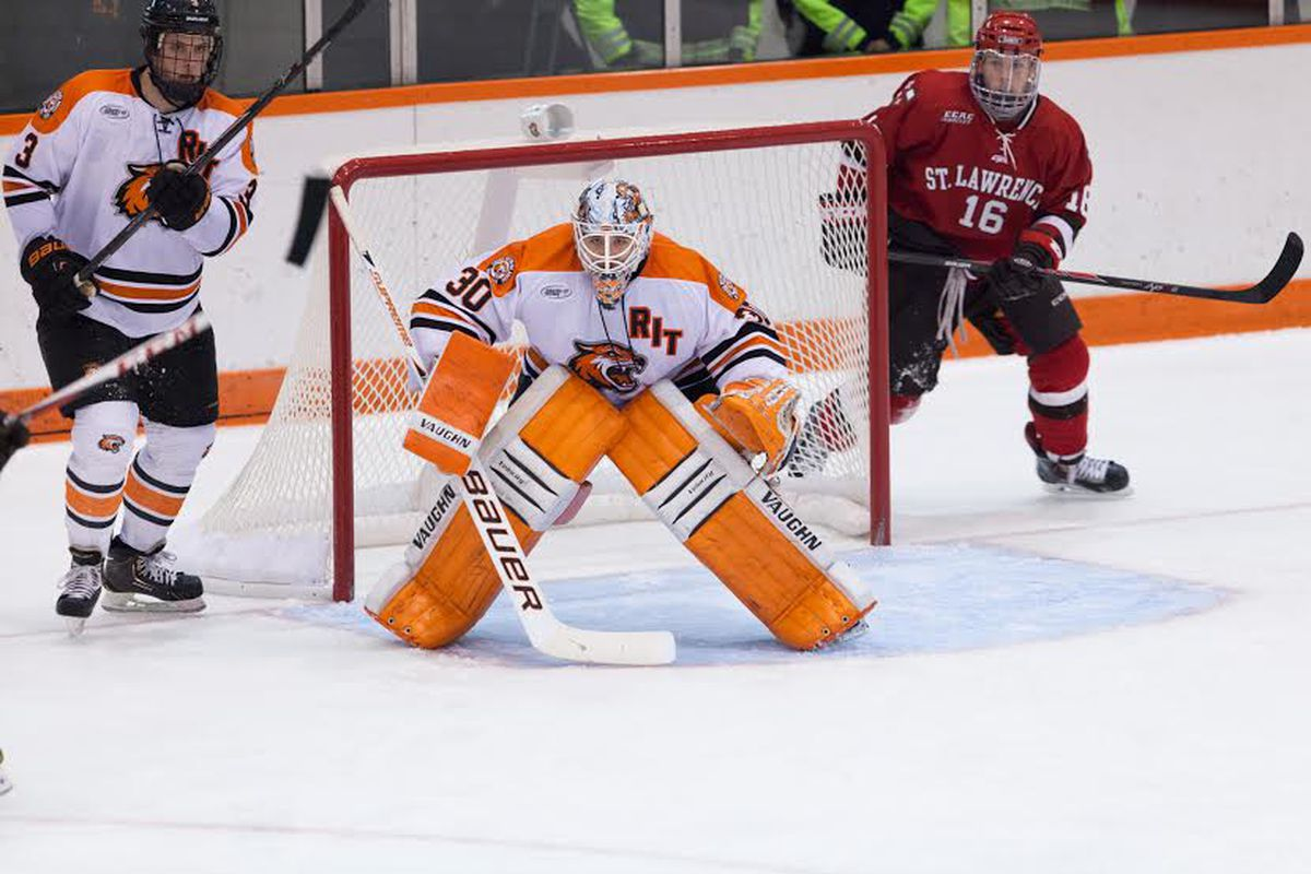 RIT freshman goaltender Mike Rotolo, in action here against St. Lawrence, is 5-0 as a starter.