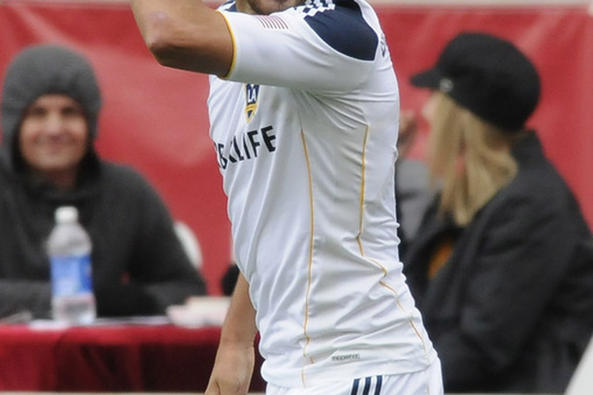 BRIDGEVIEW, IL - APRIL 17: Omar Gonzalez #4 of the Los Angeles Galaxy celebrates his goal against the  Chicago Fire in an MLS match on April 17, 2011 at Toyota Park in Bridgeview, Illinois. The Galaxy won 2-1. (Photo by David Banks/Getty Images)