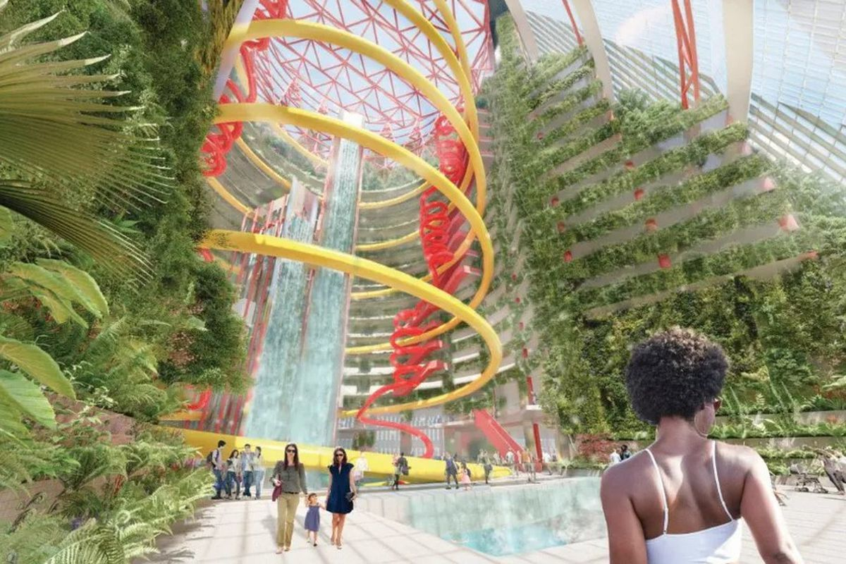 A proposal by Perkins & Will staffers imagines the Thompson Center with an indoor waterpark and monumental waterfalls.