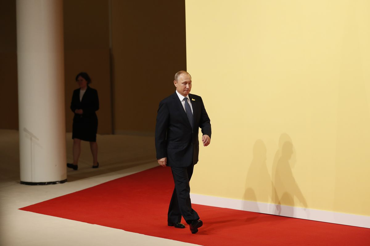 Russian President Vladimir Putin arrives for the opening day of the G20 summit on July 7, 2017 in Hamburg, Germany.