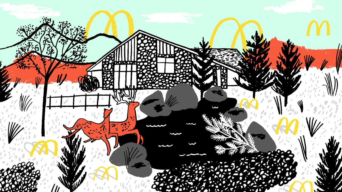 An illustration of the Kroc ranch with McDonalds arches scattered around and behind.