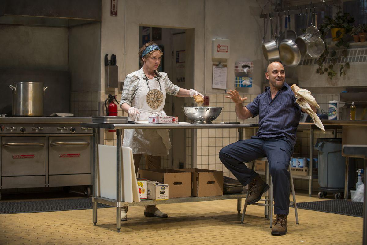 "Mariann Mayberry and Victor Almanzar in ""Grand Concourse."" | Michael Brosilow/Steppenwolf Theatre"