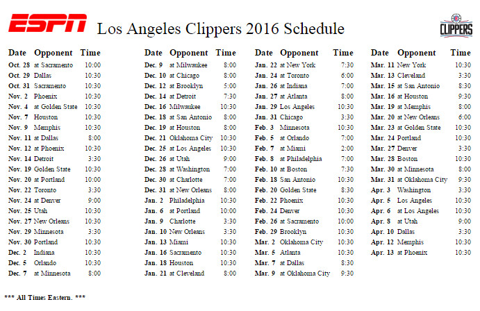 Clippers Schedule 2016