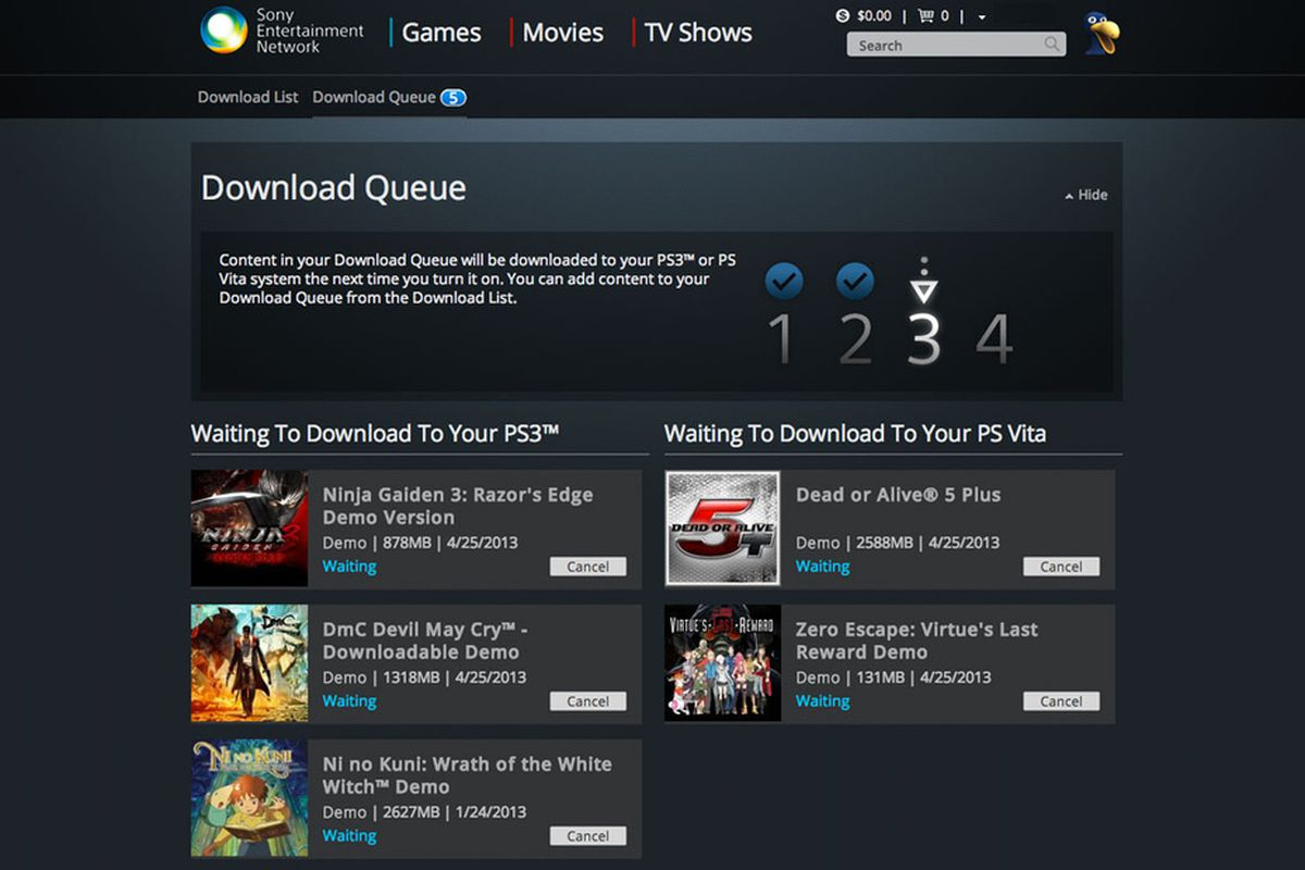 PlayStation web store adds download queues for automatic downloading
