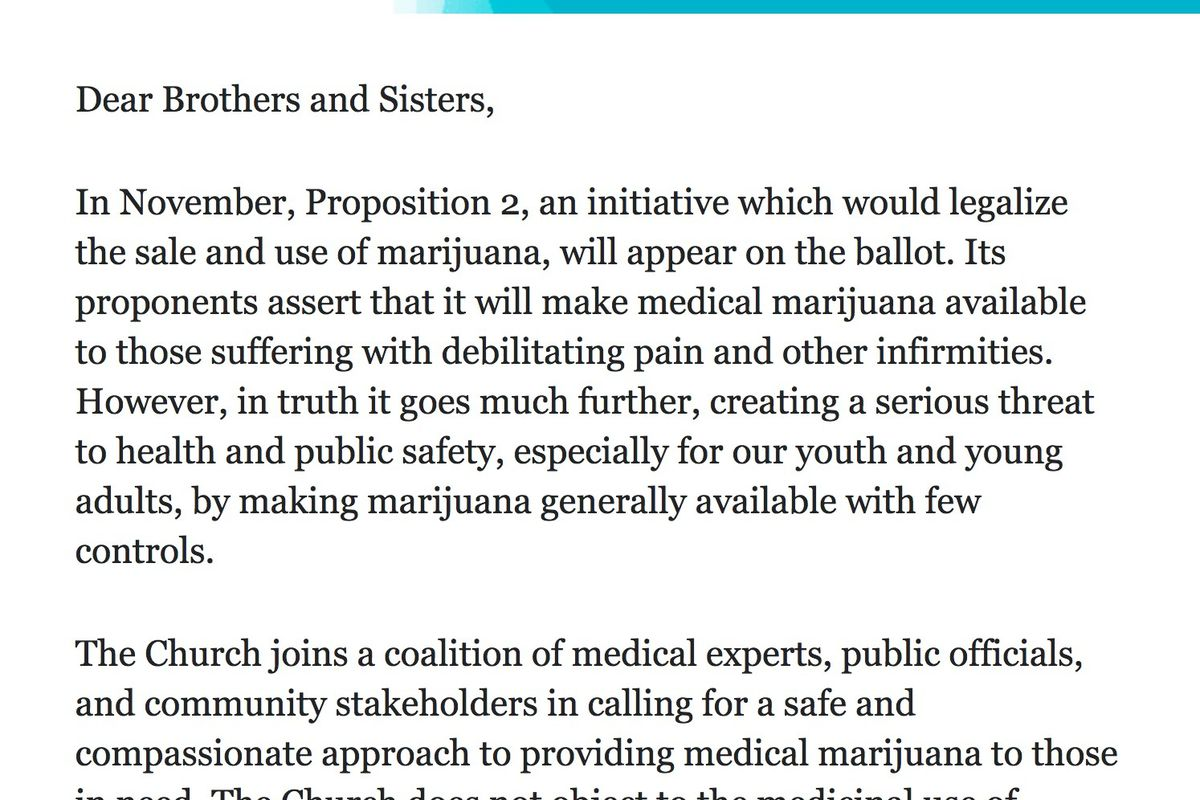A screen shot of the first portion of an email sent to members of The Church of Jesus Christ of Latter-day Saints in Utah.