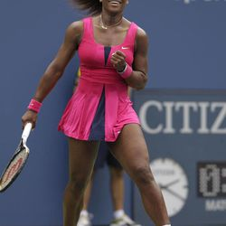 Serena Williams reacts after winning her match against Czech Republic's Andrea Hlavackova in the fourth round of play at the 2012 US Open tennis tournament,  Monday, Sept. 3, 2012, in New York.