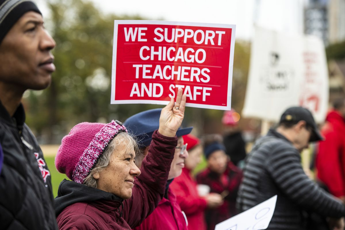 Educators, students, and union laborers rally at Union Park during the Chicago Teachers Union strike last fall.