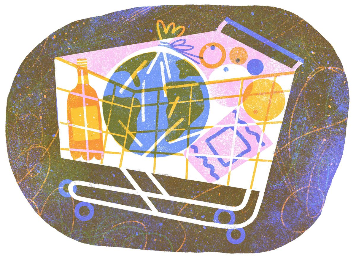 Illustration of a grocery shopping cart that contains, among other items, a plastic-wrapped world.