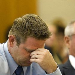 Michael Pratt reacts while listening to remarks made by the victim Monday at the Fourth District Court in American Fork. Pratt was sentenced to 5 years to life in prison.