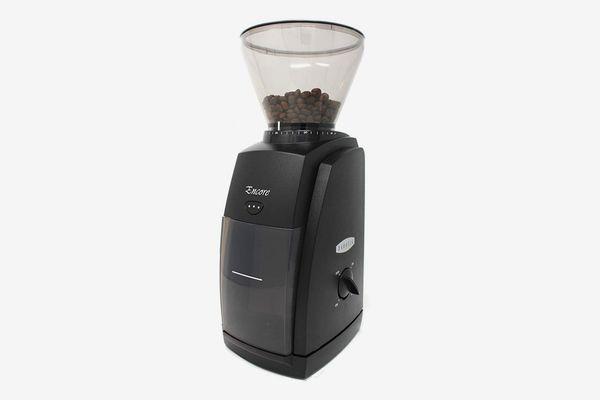 A black electric coffee grinder